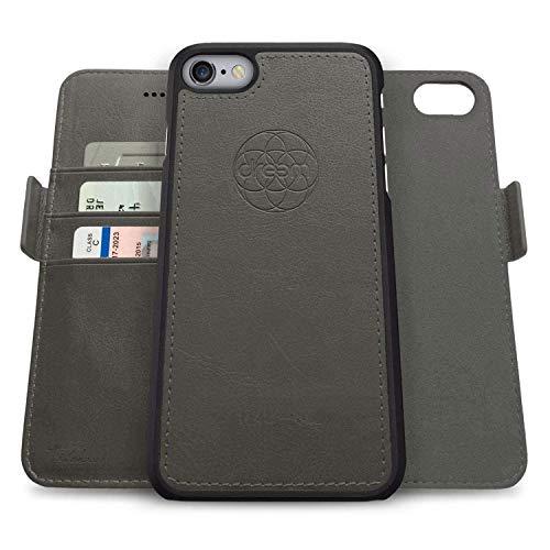 dreem Fibonacci 2 en 1 Funda iPhone 6/6s Plus Cuero Vegano Tipo Billetera | Funda Magnética Desmontable a Prueba de Golpes TPU Fino | Protección RFID |Caja de Regalo | Gris