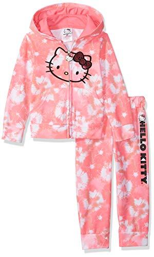 Hello Kitty Girls 2 Piece Hoodie and Pant Active Set Sudadera, Color de Corbata Rosa, 3 años para Bebés