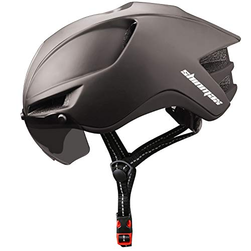 Shinmax Fahrradhelm MTB,Fahrradhelm for Herren and Damen Helm mit Magnetischer Visier,Wiederaufladbar Sicherheit LED-Rücklicht Radhelm Rennradhelm,Fahrradhelm Herren Damen Erwachsene 60-64CM