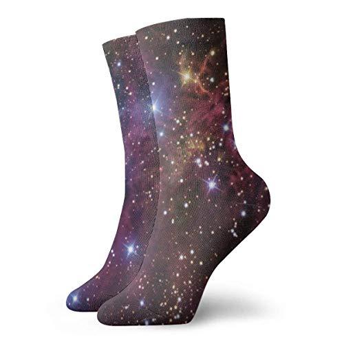 Almost-Okay-Shop Socken Galaxy Space Universe Wallpaper Warme gepolsterte Crew Wandersocken, freie Größe