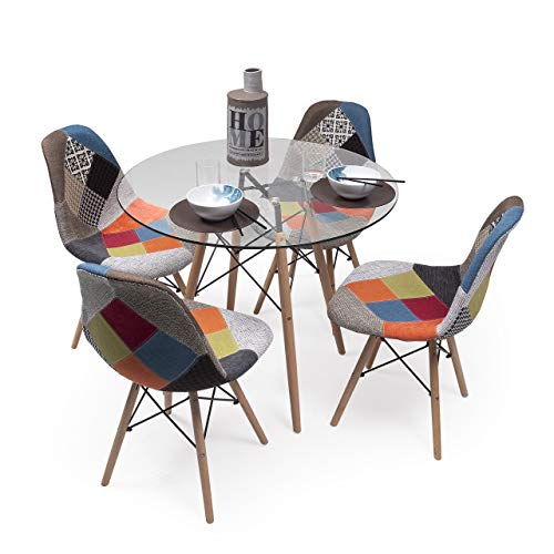 Homely - Conjunto de Comedor Tower Patchwork con Mesa de Cristal de 90 cm y 4 sillas Patchwork