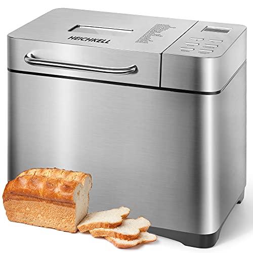 HEICHKELL Brotbackautomat Brotbackmaschine Edel, Backmeister mit Automatische Zutatenbox,650 W, 500-1000 g Brotgewicht, Keramik-Beschichtung, Brotbäcker 19 Backprogramme,Glutenfrei BPA-frei