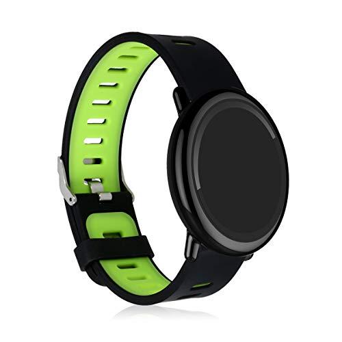 kwmobile Pulsera Compatible con Xiaomi Huami Amazfit -  Brazalete de Silicona en Negro/Verde sin Fitness Tracker