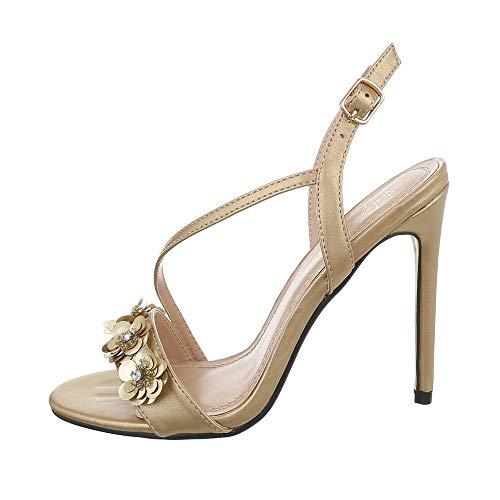 Ital-Design - Sandalias de tacón alto para mujer, color Dorado, talla 37 EU