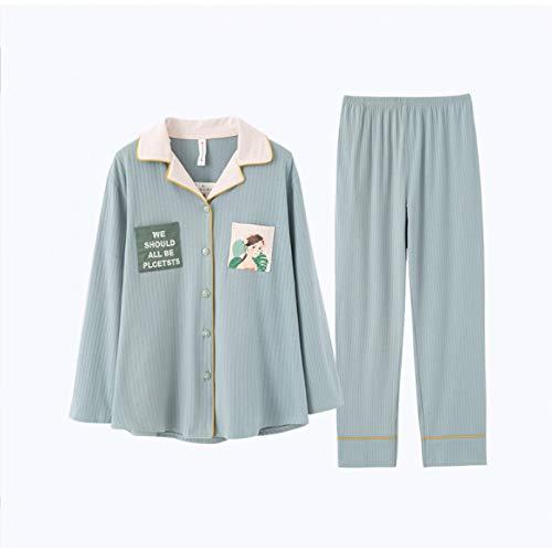 FLORVEY Pijama Pijamas de otoño para Mujer Pijamas Estampados Sueltos de algodón a la Moda Traje de Noche para Mujer Traje de casa
