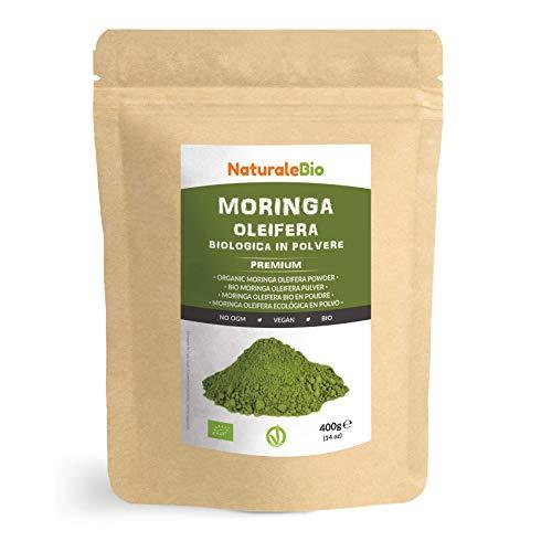 Moringa Oleifera Bio Pulver [ Premium-Qualität ] 400g. Organic Moringa Powder, Original und Rein. Blätter des Moringa Oleifera Baum. NaturaleBio