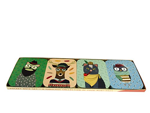 Pocket Note Set of 4 Mini-Pads: Hipster Animals: A Fabulous Collection of 4 Mini-Pads