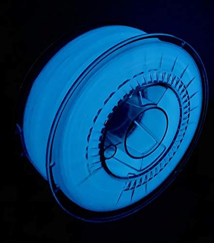 Devil Design | Filament | PLA Glow in the dark blue - leuchtend blau | 1.75 | 1kG | für Anfänger und Fortgeschrittene | Top Haftung | wenig Stringing | leicht zu drucken