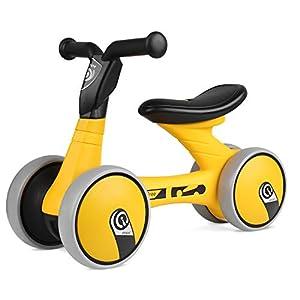 BAMNY Bicicleta sin pedales, quadriciclo sin pedales para niños de entre 1 y 3 años (Amarillo-Negro)
