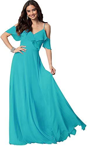 Rjer Cold Shoulder Bridesmaid Dresses V-Neck Formal Long Chiffon Prom Evening Dress for Women