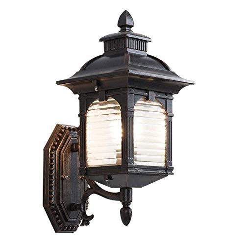 JNWEIYU Decoración del Hogar Candelabros de Pared Vintage al Aire Libre Impermeable IP55 de Aluminio Antiguo con Rejilla lámpara de Pared de Cristal de Rayas para jardín Balcón Pórtico Iluminación