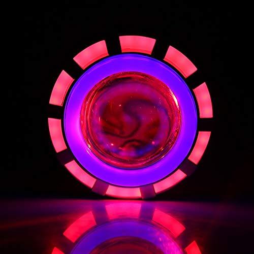 Outbit koplamp voor motorfiets, 1 stuk, high/low beamer, led-koplampprojector, objectief, Dual Angel & Devil Eye Round. blauw/rood