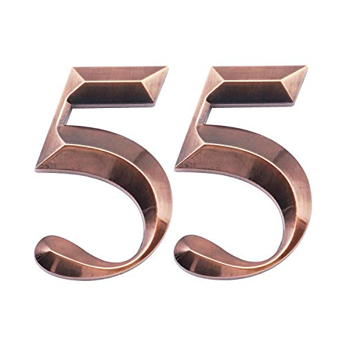 Two Pieces House Numbers, 3D Self-Adhesive Mailbox Numbers, Address Numbers for Apartment, Hotel, Door, Room Waterproof, Shiny Antique Brass Numbers 5