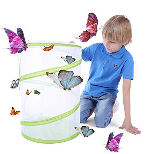 Seciie Insekt und Schmetterling Lebensraum Käfig Große Tragbare Insekt Monarch Schmetterling Netz Netzkäfig Terrarium Pop-up - 50cm Hoch