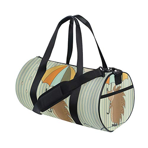 ZOMOY Sporttasche,Zitate Igel mit Regenschirm unter Regen Satz Das Leben ist schön, Immer Muster,Neue Bedruckte Eimer Sporttasche Fitness Taschen Reisetasche Gepäck Leinwand Handtasche