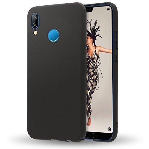 NALIA Funda Compatible con Huawei P20 Lite, Hard-Case Protectora Ultra-Fina Bumper Carcasa Dura en Look de Metal, Ligera Cubierta Telefono Movil Cobertura Premium Phone Cover, Color:Negro