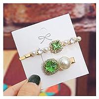 ヘアピン 女性の女の子のためのInsスタイルの真珠のバレットエレガントなクリスタルヘアクリップビンテージ幾何学的な緑のラインストーンのヘアピンギフト (Color : 12)