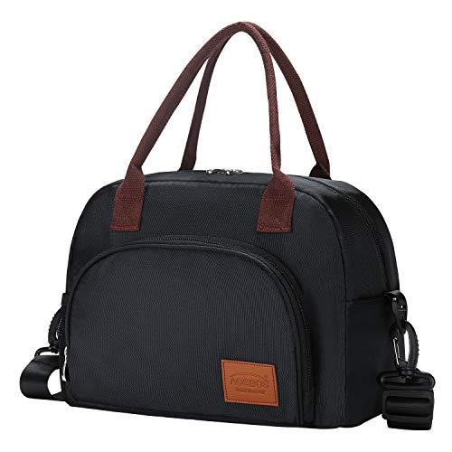 Aosbos groß Kühltasche faltbar Lunchtaschen Isoliert Lunch Tasche Kühlbox mit Verstellbar Tragegurt Lebensmittelecht für Arbeit Ausflug Sport Schwarz 12 L