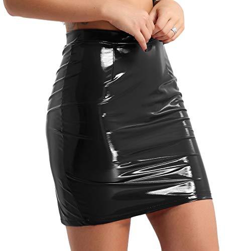 Freebily Damen PU-Leder Mini Rock Hohe Taille Figurbetont Rock Knielang Lack Bleistiftrock Abendrock Wetlook Party Clubwear Schwarz Large