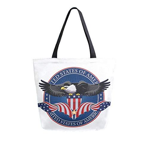 RURUTONG Bald Eagle Bolsa de lona a granel para comestibles, bolsa de playa de hombro grande, reutilizable, bolso multiusos resistente, para compras al aire libre bandera de Estados Unidos 2012848