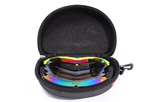 WOLFBIKE BYJ-013 Sonnenbrillen Radsport brille Fahrradbrille f. Außen Skilaufen Radfahren Fahrräder und andere Sport-Schutz mit 5 Wechselobjektiven (Grün) - 9