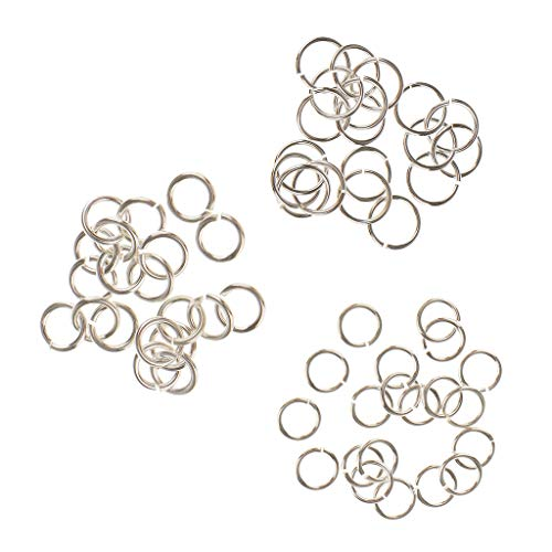IPOTCH 60 Pieces 4-6mm Sterling Silver Jump Rings Open Connectors Chain Links For DIY Jewelry Making Findings Accessories