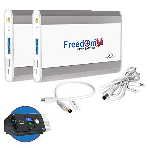 Freedom V2 CPAP Battery Kit, Dual Backup Power Supply. Compatible with The ResMed AirSense 10