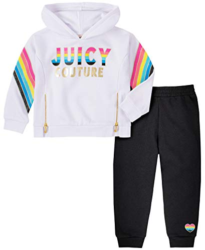 Juicy Couture Girls' 2 Pieces Pants Set with Hoody, White/Black, 3T