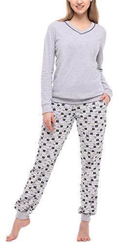Merry Style Damen Schlafanzug MS10-230 (Melange/Katzen, L)