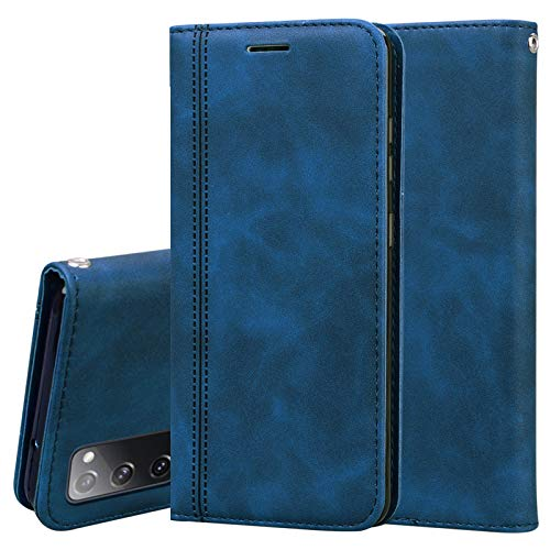 GOGME Hülle für Samsung Galaxy S20 FE 5G/S20 Fan Edition, Retro Premium PU Leder Flip Schutzhülle, Leder Klapphülle Slim Lederhülle mit Standfunktion und Kartenfach TPU Innenraum Hülle Handyhülle, Blau