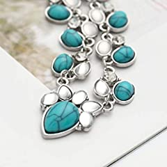Jovono Silver Turquoise Pendant Necklaces Boho Rhinestone Necklace Chain Jewelry for Women and Girls #2