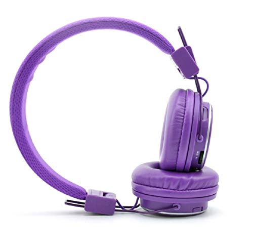NIA Q8 Wireless Bluetooth Headphones with Built-in FM Radio and TF Card Mp3 Player,Volume Limited 93dB for Kids-Purple
