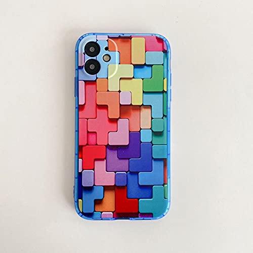 DNZJHHM Caja de teléfonos Fluorescentes Creativo Irregular Rhombus Coque Teléfono Cubierta Cubierta de Cubierta para Apple iPhone 11 Pro XS MAX X XR 8 7 6 6S Plus 5S SE-A03_para iPhone 7