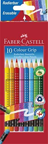 Faber-Castell 116613 - Radierbare Colour Grip Buntstifte, 10 Stück im Kartonetui