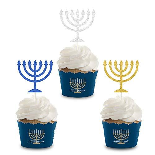 24Pcs Glitter Menorah Cupcake Toppers, Happy Hanukkah Cupcake Topper, Sparkle Jewish Birthday Chanukah Holiday Party Decoration Supplies