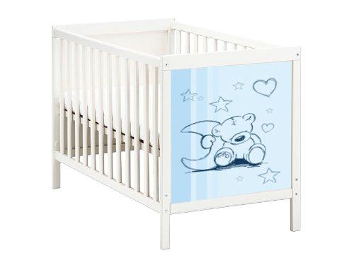 Stikkipix Teddy in blau Möbelsticker/Aufkleber für das Babybett SUNDVIK von IKEA - SB01 - Möbel Nicht Inklusive