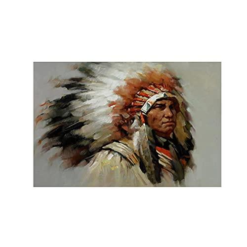 Dabbledown Cuadro de Lienzo Carteles e Impresiones de Retrato de Plumas Indias nativas abstractas e...