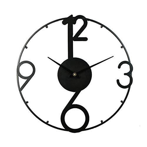 XM&LZ Silenciosa Grande Reloj De Pared,20pulgada Metal Redondo Relojes De Pared Cuarzo No-Tic-TAC Pilas Relojes Salón Cocina Oficina Negro 20inch