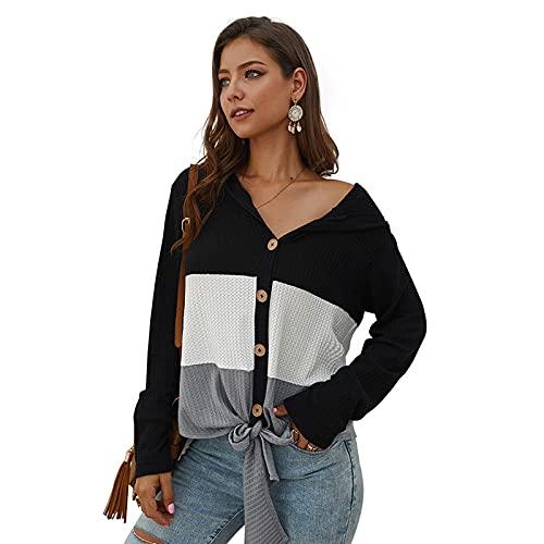 SLYZ Suéter De Punto De Costura De Manga Larga para Mujer De Primavera Camiseta con Capucha De Gofre Top Mujer