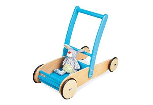 Pinolino Uli Leren trolley van hout, met remsysteem, loophulp met rubberen houten wielen, voor kinderen van 1 tot 6 jaar, turquoise