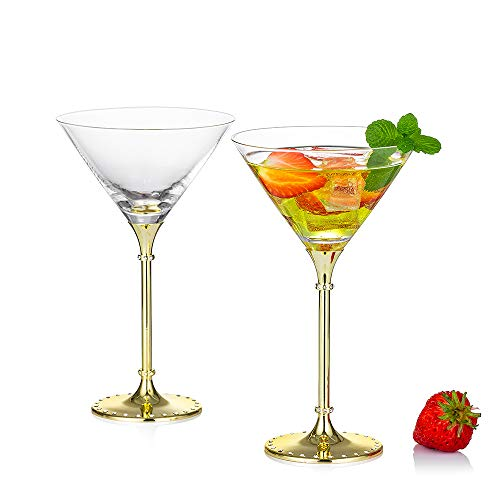 Sziqiqi Set de 2 Copas de Cóctel Martini Margarita, Copas para Cócteles Martini Margarita, 7,8oz, Oro