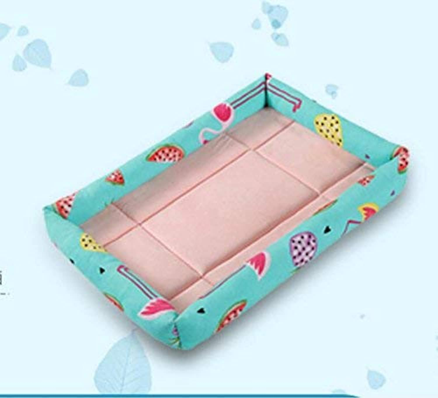 YQSMYSW Puppy Dog Summer Bed Self Cooling Pad Pet Cooler Cold Bed Pet Cooling Mat(Flamingo Light bluee,M) for Cat Dog