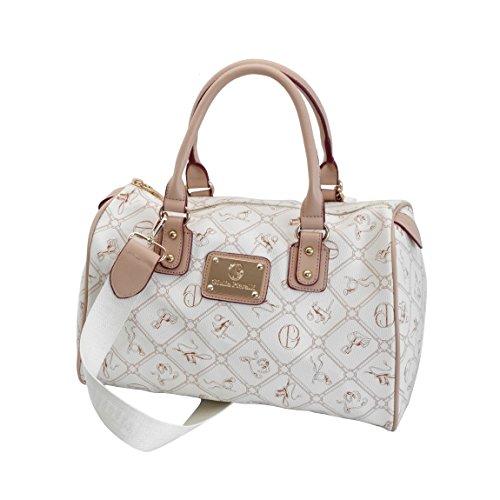 Giulia Pieralli - Damen GlamourHandtasche Damentasche Tasche Henkeltasche Bowling Tasche Umhängetasche - präsentiert von ZMOKA® in versch. Farben (Beige Beige)