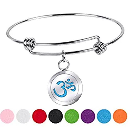 LiFashion LF Womens 316l Stainless Steel OM Yoga Essential Oil Diffuser Locket Wire Bangle Aroma Aromatherapy Charm Perfume Cuff Bracelet with Blue Pads for Mom Girlfriend Wife Gift