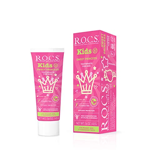 R.O.C.S. Kids Sweet Princess Toothpaste - Enamel Whitening, Teeth and Gum Protection - For Children and Toddlers 3-7 Years Old - Delicious Flavors, Safe to Swallow - Natural, No Fluoride or Sulfate