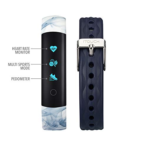 iTouch Slim Waterproof Fitness Activity Tracker, Heart Rate Monitor, Multi-Sports Mode, Pedometer, for Android and iOS Smartphones, Comes with...