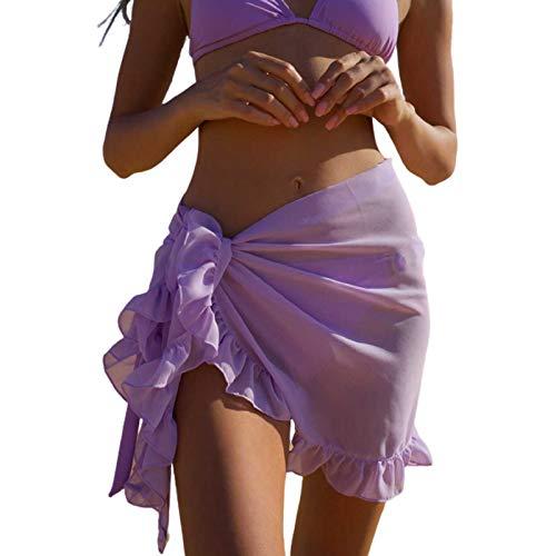 Falda Transparente de Playa Mini Falda Sexy Ajustable de Verano Pareo de Volantes Cubierta de Bikini Cover Up de Bañador para Mujer Encubrimiento de Traje de Baño para Piscina Viaje, Morado