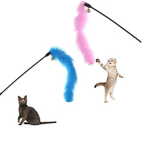 Kätzchen-Katze Teaser Interactive Katzenspielzeug Dangler Rod mit Glocke und Feder lsmaa (Color : Style3 1 Piece Random Color)