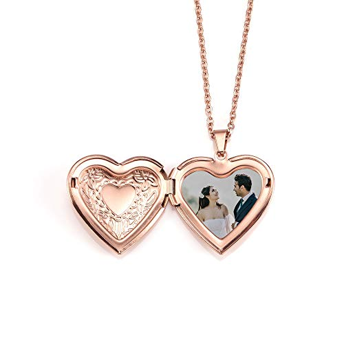 Zysta Personalised Heart Locket Necklace That Hold Picture Photo Locket Necklace Pendant for Women Stainless Steel Customised Necklace Jewelry Kit Mothers Day Gifts Silver Rose Gold
