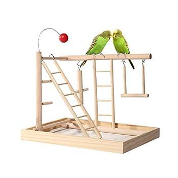 ZWW Pieds pour Cages À Oiseaux, Perroquet en Bois Clôture De Gibier Terrain De Jeux Perche avec Échelle d'escalade Balançoires Et Jouets pour Les Exercices D'entraînement
